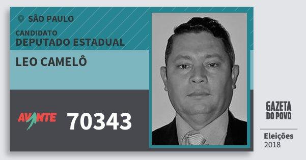 Santinho Leo Camelô 70343 (AVANTE) Deputado Estadual | São Paulo | Eleições 2018