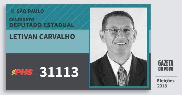 Santinho Letivan Carvalho 31113 (PHS) Deputado Estadual | São Paulo | Eleições 2018
