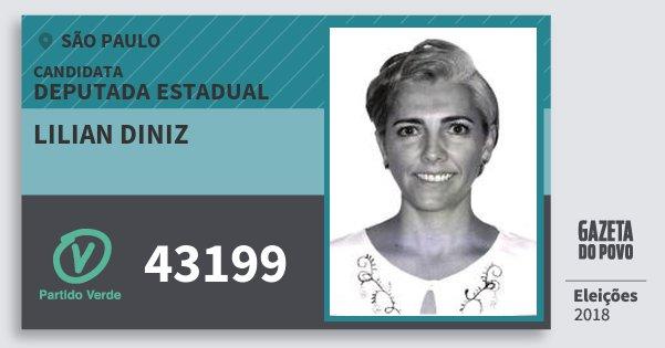 Santinho Lilian Diniz 43199 (PV) Deputada Estadual | São Paulo | Eleições 2018