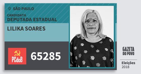 Santinho Lilika Soares 65285 (PC do B) Deputada Estadual | São Paulo | Eleições 2018