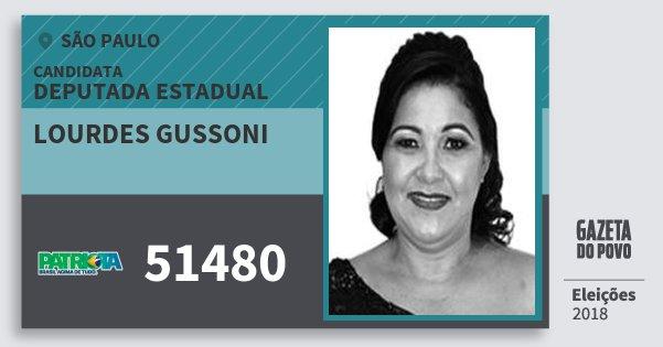 Santinho Lourdes Gussoni 51480 (PATRI) Deputada Estadual | São Paulo | Eleições 2018