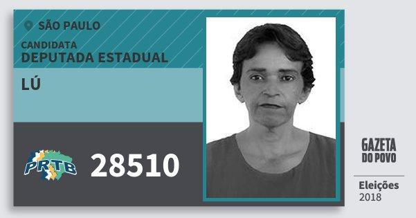 Santinho Lú 28510 (PRTB) Deputada Estadual | São Paulo | Eleições 2018