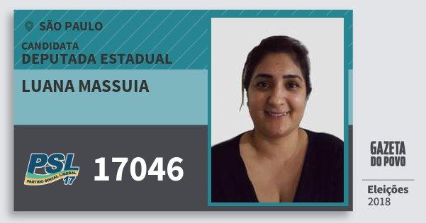 Santinho Luana Massuia 17046 (PSL) Deputada Estadual | São Paulo | Eleições 2018