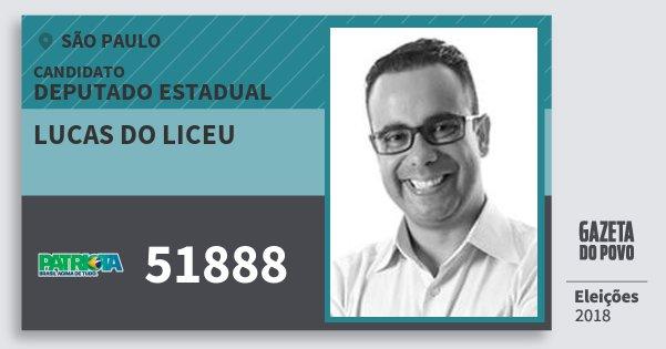 Santinho Lucas do Liceu 51888 (PATRI) Deputado Estadual | São Paulo | Eleições 2018