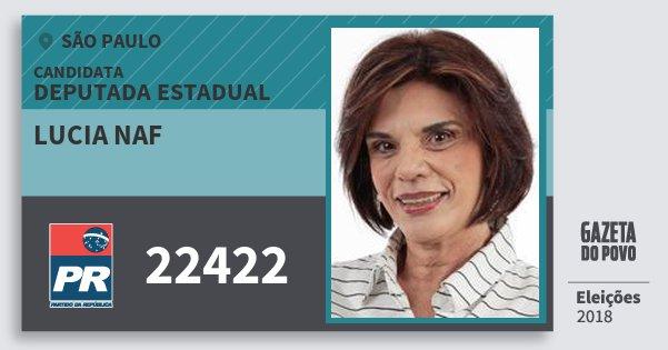 Santinho Lucia Naf 22422 (PR) Deputada Estadual | São Paulo | Eleições 2018