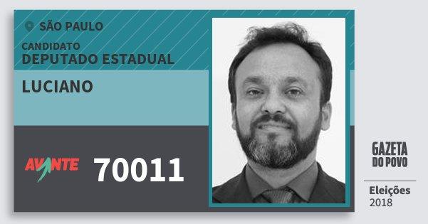 Santinho Luciano 70011 (AVANTE) Deputado Estadual | São Paulo | Eleições 2018