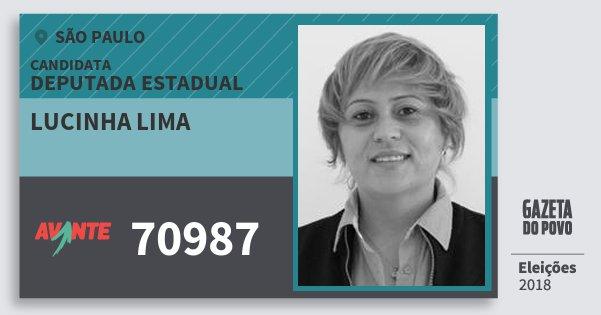Santinho Lucinha Lima 70987 (AVANTE) Deputada Estadual | São Paulo | Eleições 2018