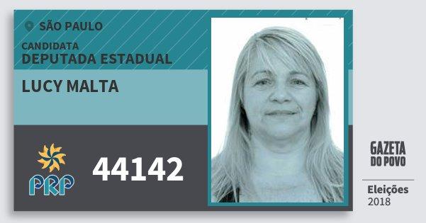 Santinho Lucy Malta 44142 (PRP) Deputada Estadual | São Paulo | Eleições 2018