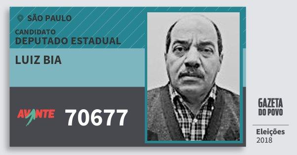 Santinho Luiz Bia 70677 (AVANTE) Deputado Estadual | São Paulo | Eleições 2018
