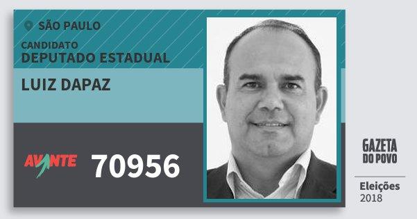 Santinho Luiz Dapaz 70956 (AVANTE) Deputado Estadual | São Paulo | Eleições 2018