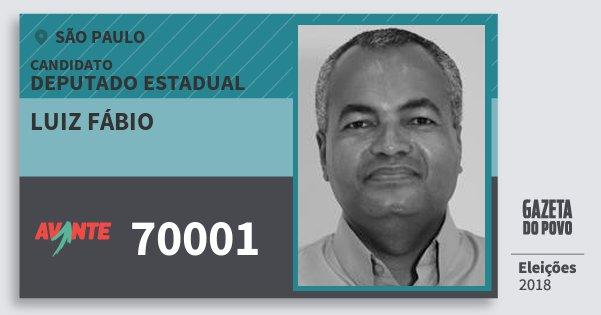 Santinho Luiz Fábio 70001 (AVANTE) Deputado Estadual   São Paulo   Eleições 2018