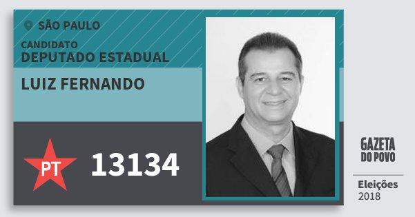 Santinho Luiz Fernando 13134 (PT) Deputado Estadual   São Paulo   Eleições 2018