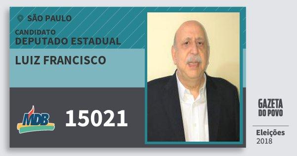 Santinho Luiz Francisco 15021 (MDB) Deputado Estadual | São Paulo | Eleições 2018