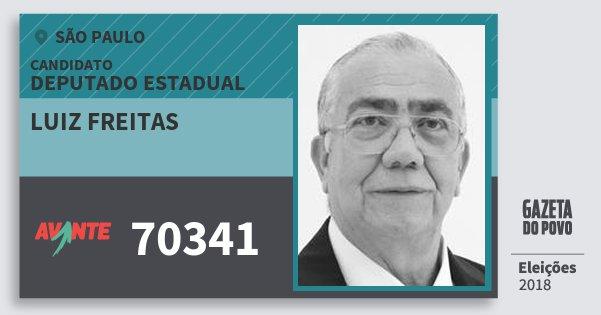 Santinho Luiz Freitas 70341 (AVANTE) Deputado Estadual | São Paulo | Eleições 2018