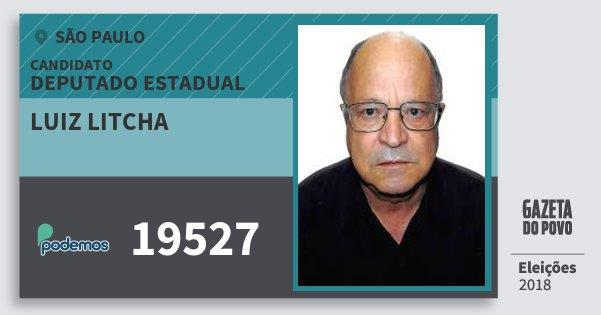 Santinho Luiz Litcha 19527 (PODE) Deputado Estadual | São Paulo | Eleições 2018
