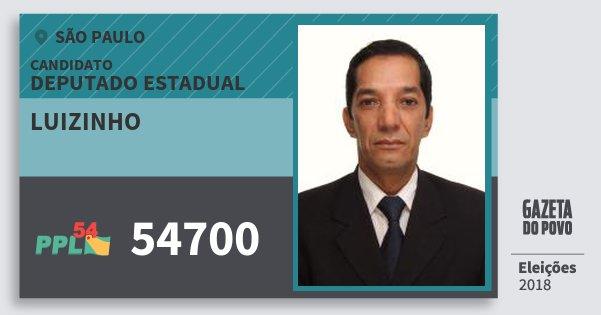 Santinho Luizinho 54700 (PPL) Deputado Estadual | São Paulo | Eleições 2018