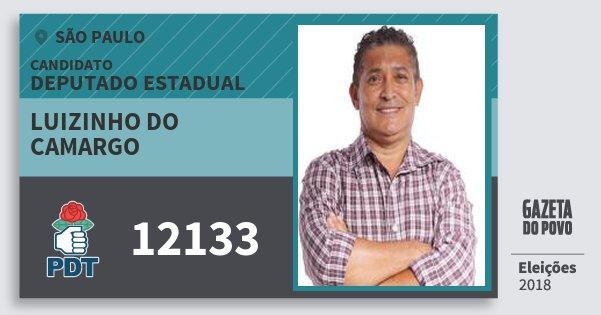 Santinho Luizinho do Camargo 12133 (PDT) Deputado Estadual | São Paulo | Eleições 2018