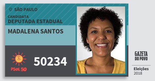 Santinho Madalena Santos 50234 (PSOL) Deputada Estadual | São Paulo | Eleições 2018