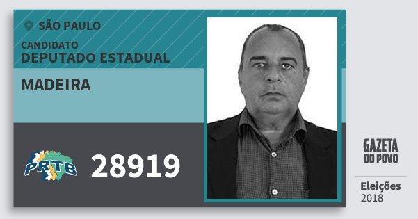 Santinho Madeira 28919 (PRTB) Deputado Estadual | São Paulo | Eleições 2018