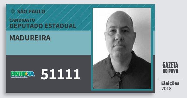 Santinho Madureira 51111 (PATRI) Deputado Estadual   São Paulo   Eleições 2018