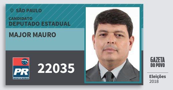 Santinho Major Mauro 22035 (PR) Deputado Estadual | São Paulo | Eleições 2018