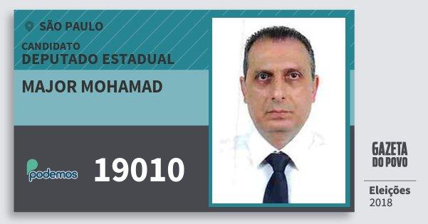 Santinho Major Mohamad 19010 (PODE) Deputado Estadual | São Paulo | Eleições 2018