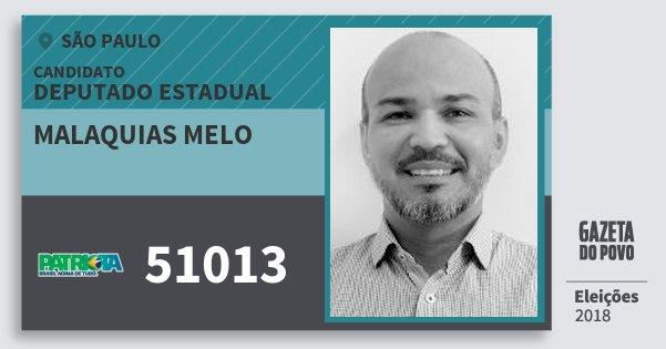 Santinho Malaquias Melo 51013 (PATRI) Deputado Estadual | São Paulo | Eleições 2018