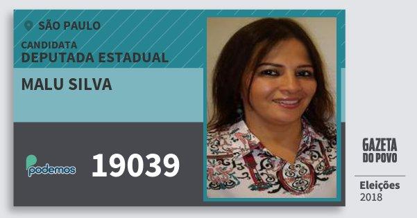 Santinho Malu Silva 19039 (PODE) Deputada Estadual   São Paulo   Eleições 2018