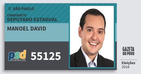 Santinho Manoel David 55125 (PSD) Deputado Estadual | São Paulo | Eleições 2018