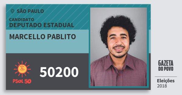 Santinho Marcello Pablito 50200 (PSOL) Deputado Estadual   São Paulo   Eleições 2018