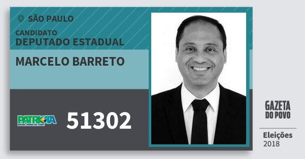 Santinho Marcelo Barreto 51302 (PATRI) Deputado Estadual   São Paulo   Eleições 2018