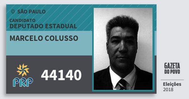 Santinho Marcelo Colusso 44140 (PRP) Deputado Estadual   São Paulo   Eleições 2018