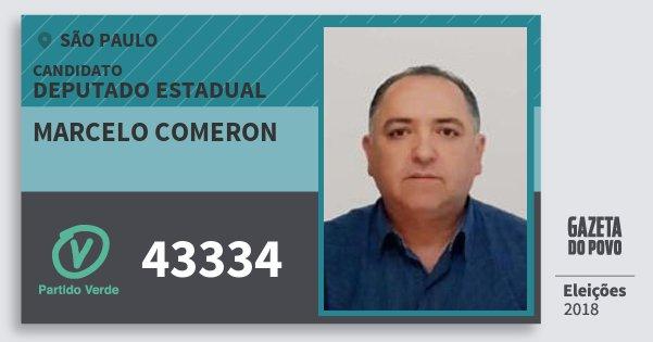 Santinho Marcelo Comeron 43334 (PV) Deputado Estadual | São Paulo | Eleições 2018