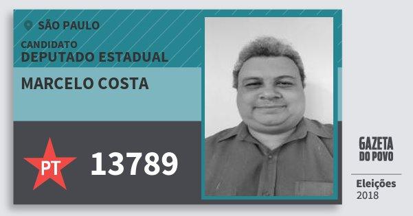 Santinho Marcelo Costa 13789 (PT) Deputado Estadual   São Paulo   Eleições 2018