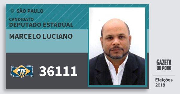 Santinho Marcelo Luciano 36111 (PTC) Deputado Estadual | São Paulo | Eleições 2018