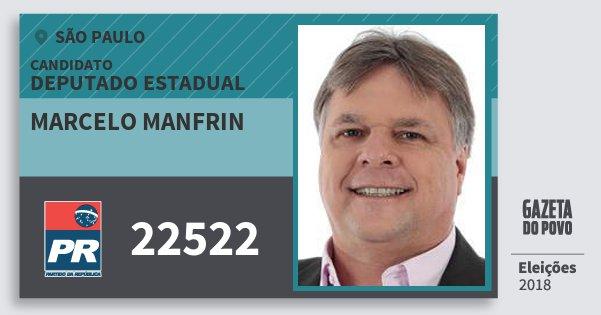 Santinho Marcelo Manfrin 22522 (PR) Deputado Estadual | São Paulo | Eleições 2018