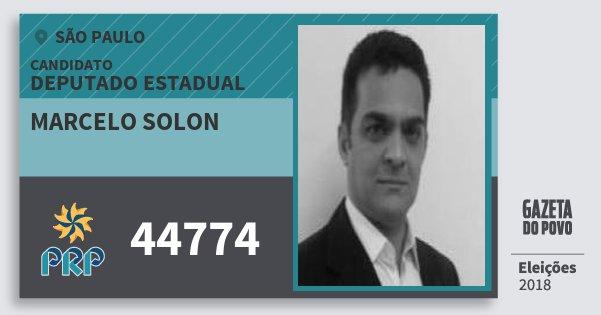 Santinho Marcelo Solon 44774 (PRP) Deputado Estadual | São Paulo | Eleições 2018