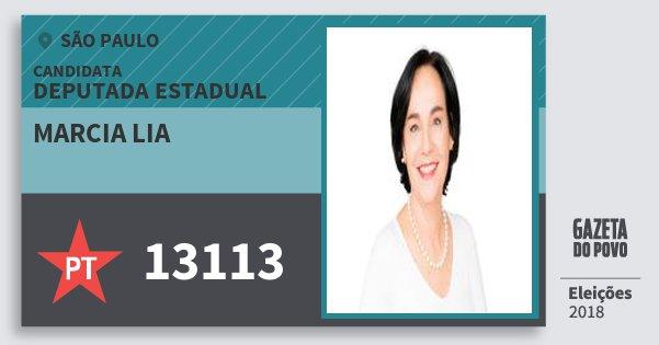 Santinho Marcia Lia 13113 (PT) Deputada Estadual | São Paulo | Eleições 2018