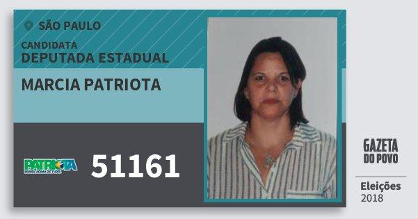 Santinho Marcia Patriota 51161 (PATRI) Deputada Estadual   São Paulo   Eleições 2018
