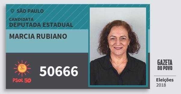 Santinho Marcia Rubiano 50666 (PSOL) Deputada Estadual   São Paulo   Eleições 2018