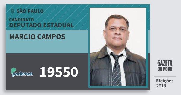 Santinho Marcio Campos 19550 (PODE) Deputado Estadual | São Paulo | Eleições 2018