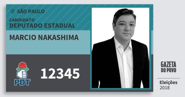 Santinho Marcio Nakashima 12345 (PDT) Deputado Estadual | São Paulo | Eleições 2018