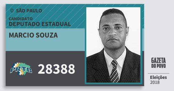 Santinho Marcio Souza 28388 (PRTB) Deputado Estadual | São Paulo | Eleições 2018