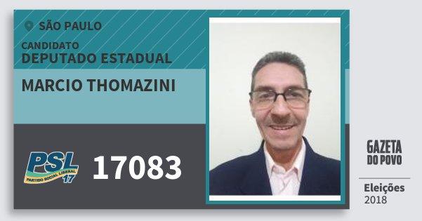Santinho Marcio Thomazini 17083 (PSL) Deputado Estadual | São Paulo | Eleições 2018