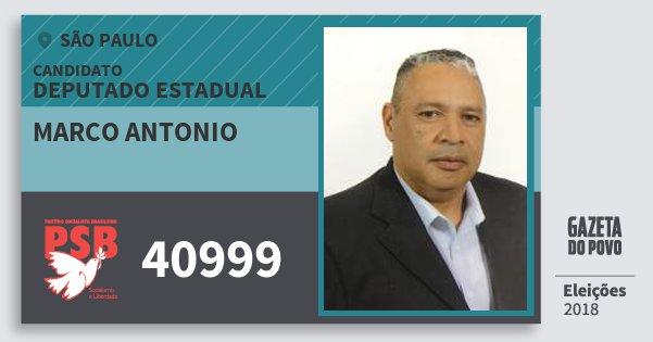 Santinho Marco Antonio 40999 (PSB) Deputado Estadual   São Paulo   Eleições 2018