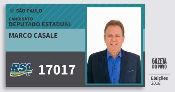 Santinho Marco Casale 17017 (PSL) Deputado Estadual | São Paulo | Eleições 2018