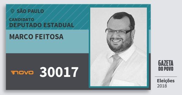 Santinho Marco Feitosa 30017 (NOVO) Deputado Estadual | São Paulo | Eleições 2018