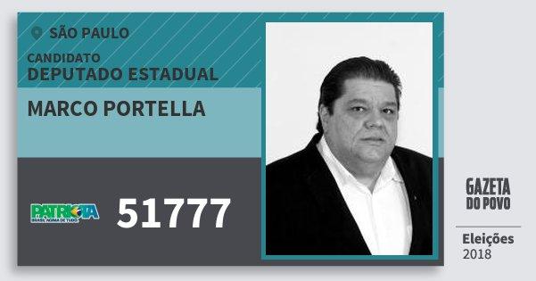Santinho Marco Portella 51777 (PATRI) Deputado Estadual | São Paulo | Eleições 2018