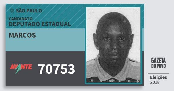 Santinho Marcos 70753 (AVANTE) Deputado Estadual   São Paulo   Eleições 2018