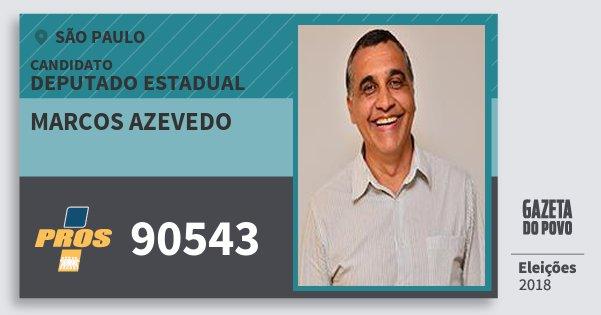 Santinho Marcos Azevedo 90543 (PROS) Deputado Estadual | São Paulo | Eleições 2018